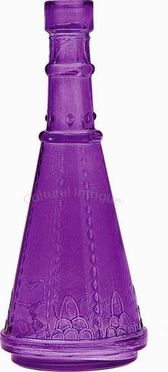 Purple Decorative Glass Bottle (cone shape)