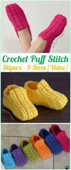 Crochet Unisex Puff Stitch Slippers Free Pattern [ 9 Sizes ]- Crochet Women Slippers Free Patterns