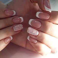 You can take a detailed look at these fashionable and simple nail designs. French Manicure Acrylic Nails, Matte Pink Nails, Best Acrylic Nails, Nail Manicure, Cute Nails, Pretty Nails, Feather Nails, Romantic Nails, Bride Nails