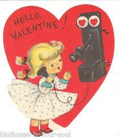 Vintage Valentine Card Girl Old Fashioned Wall Phone Unused Envelope Die Cut | eBay