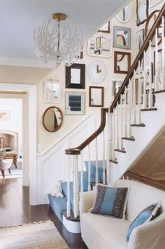 Blue and White Entry Way mirror mirror, stairway, family photos, beach hous, framed mirrors, gallery walls, picture walls, stairwells, wall galleries