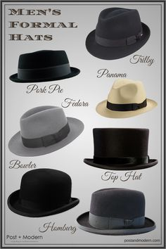 Men s Formal Hat Styles (Infographic) - Post + Modern Meias 297fe17c8bc