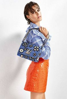 Alana Bunte by Dan Smith for Elle France September 2015 - Miu Miu Fall 2015 blouse, skirt; Louis Vuitton bag