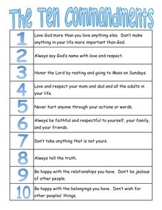 A true Catholic version of the Ten Commandments, for kids. Very helpful to explain things in ways they can understand! Catholic Religious Education, Catholic Catechism, Catholic Kids, Catholic Sacraments, Catholic Crafts, Catholic School, Rosary Catholic, Religious Art, Religion Activities