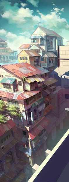 Chong FeiGiap - gorgeous colours: Art Anime, 2 Point Perspective Drawing, Animation Background, Art Background, Cyberpunk Anime, Anime City, Digital Paintings, Arte Digital, Environment Design
