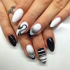 Black and white swirl nailart #nailart @Jenniferw