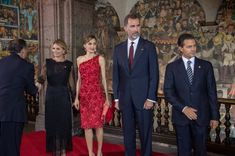 Queen Letizia and King Felipe VI of Spain attend a dinner given by Mexican President Enrique Peña Nieto and his wife First Lady Angelica Rivera at National Palace on June 29, 2015 in Mexico City, Mexico.