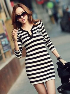 https://www.cityblis.com/11171/item/12698 | preppy striped dress - $25 by ClubCouture | varsity style long sleeve striped dress. Length: 32inches | #Dresses