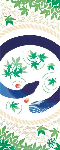 Japanese washcloth, Tenugui手ぬぐい 青うなぎ blue eel