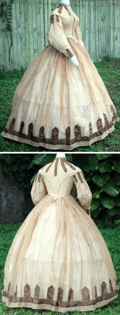 Summer dress ca. 1861-65. Gauze, may be linen. Trimmed with points of brown silk on bodice, sleeves, & skirt. Brown silk also used for contrast on sleeve piping. Shoulders set into armholes with pleats stitched down. Closes with hooks & eyes as well as eyelets for functioning buttons. Skirt with triple box pleats all around. sadira33610/ebay