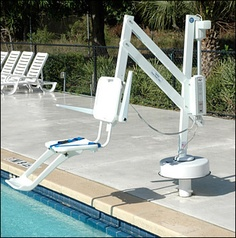 ADA Pool Lifts make it safer and easier for seniors and people with disabilities to get exercise in the pool. Handicap Equipment, Pool Equipment, Jacuzzi, Wheelchair Accessories, Handicap Accessories, Handicap Accessible Home, Portable Pools, Pool Workout, Mobility Aids