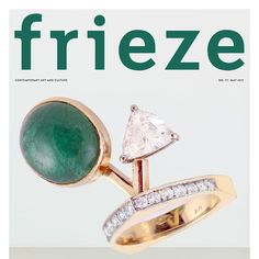 Who's going to the #Frieze Art Fair this weekend? We think this Modernist Emerald & Diamond ring sculpted in 14K yellow gold would be perfect for any contemporary art lover. This is our mockup of a @frieze_magazine cover featuring this gem of a ring. #WorkOfArt http://www.gleem.co/products/modernist-cabochon-emerald-diamond-yellow-gold-ring-rnb-sbr-0004 #contemporaryart #FriezeNY #friezeart #emerald #artcollector #modernart #artlover  #viptent #artfair #artgallery #artshow #artopening