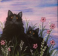 Cat-Black-Cats-in-the-Field-at-Dusk-5-x-5-canvas-magnet-acrylic-by-Pryjmak