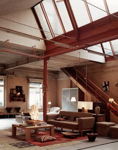 Loft in Zurich Condo Living, Living Spaces, Loft Spaces, Architecture Design, Warehouse Living, Industrial Interiors, Industrial Loft, Home Upgrades, Interior And Exterior