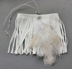 White upper arm bracelet, armlet with beautiful feather and sparkling beads