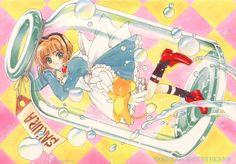 Tags: CLAMP, Cardcaptor Sakura, Kinomoto Sakura, Kero-chan, Cardcaptor Sakura Illustrations Collection 1