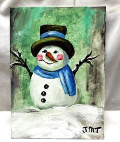 Christmas in July Snowman art on 5 x 7 canvas by ThisArtToBeYours