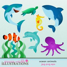 Ocean Animals Cute Digital Clipart for Card Design, Scrapbooking, and Web Design. $5.00, via Etsy.
