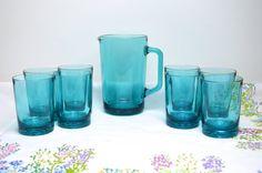 stunning mid century aqua/teal blue glass by tillyandarthur
