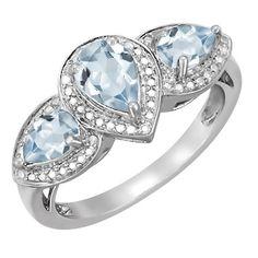 Kay - Aquamarine Three Stone Ring Sterling Silver