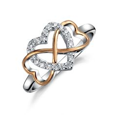 6ffff2775 Two Tone Heart CZ Infinity Statement Cubic Zirconia Promise Ring Rose 14K  Gold Plated 925 Sterling Silver 9mm