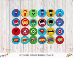 Supergirls Cupcake Toppers Superhero Girls por RainbowSweetStudio