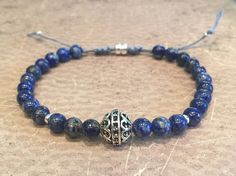 """Genuine Friendship Semi-Precious Stone Stacked Bracelets, Blue Lapis, Hematite, faceted smoky quartz, Macrame Sterling Silver Bracelets  Try the Indigo Blue when you wear your Denim Jeans. Smokey Quartz for the classy look or black which works with everything.  Hand made.  • Blue Lapis 6mm Beads • Faceted Smoky Quartz 6mm Beads • Hematite 6mm Beads • Sterling Silver Beads • Sterling Silver Infiniti Charm • Bracelets - Measure 7"""" - 8""""  *** FREE SHIPPING ***  Made in the USA."""
