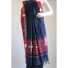 Navy blue embroidered handloom cotton saree - Kriti-Kala