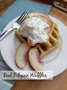 Real Belgian Waffles - a recipe for a more genuine version of Belgian waffles. My kids refer to them as 'the good waffles' and they are so good with fresh fruit and whipped cream!