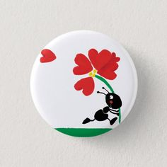 Shop love flower pinback button created by sallylux. Rock Painting Patterns, Rock Painting Ideas Easy, Rock Painting Designs, Paint Designs, Painted Rock Animals, Painted Rocks Craft, Hand Painted Rocks, Painted Pebbles, Lady Bug Painted Rocks