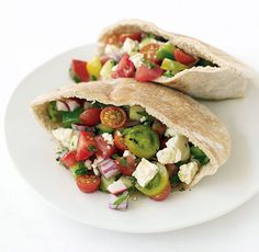 Greek Salad Pita Sandwiches  Per serving: 397 calories, 20g fat (7g saturated fat), 33mg cholesterol, 775mg sodium, 45g carbohydrates, 7g fiber, 13g protein    Read More http://www.epicurious.com/recipes/food/views/GREEK-SALAD-PITA-SANDWICHES-