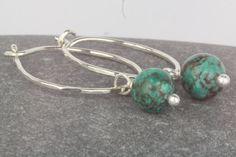 Turquoise earrings hoop dangle boho style by AmySquaredJewellery