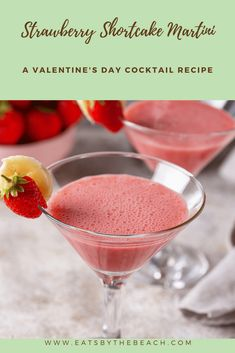 This Valentine's Day cocktail is so fruity, sweet, and creamy. It is the perfect martini to share with your sweetie or group of girlfriends. Easy Drink Recipes, Martini Recipes, Sangria Recipes, Alcohol Recipes, Juicer Recipes, Smoothie Recipes, Salad Recipes, Fruity Cocktails, Cocktail Desserts