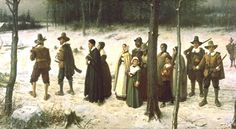 PILGRIMS GOING TO CHURCH  by George Henry Boughton  1833-1905 - he is actually a distant relative of mine. I have a small painting of his in my house! I love his work.