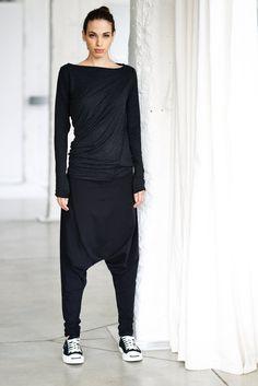 NEW/ Black Drape Top/ Long Sleeved Blouse/ Black by AryaSense, $59.00