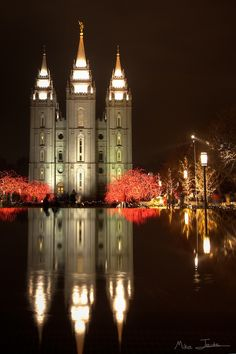 Christmas in Salt Lake City,Utah. Look at those lit trees!