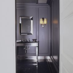 Ideas Bath Room Tiles Charcoal Powder Rooms For 2019 Lilac Bathroom, Gray Bathroom Decor, Rustic Bathroom Vanities, Bathroom Colors, Bathroom Interior Design, Striped Accent Walls, Charcoal Walls, Grey Walls, White Tile Shower