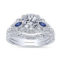Vintage Platinum Round 3 Stones Halo Diamond A Quality Sapphire Engagement Ring