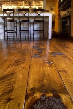 Carlisle Wide Plank Floors Eastern Hit or Miss White Pine in a Restaurant. The quality of a Carlisle floor is matched only by that of the customer experience. Rustic Wood Floors, Wooden Flooring, Hardwood Floors, Wide Plank Flooring, Pine Floors, Log Homes, Sweet Home, House Design, Customer Experience