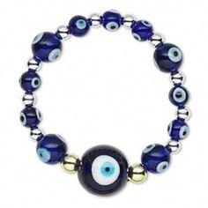 Turkish Evil Eye Blue White Glass Beads Amulet Bracelet