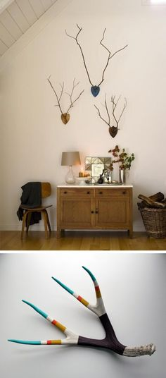mounts with sticks for antlers & a naturally shed antler.... cool aesthetic without the guilty conscience.