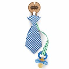 """For your """"classy"""" baby boy! Mud Pie Necktie Pacifier Clip 