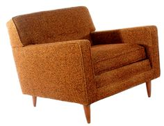 Mid Century Modern Club Chair  Description:  1960's Boxy Modern Design at its finest in Chocolate Brown. Mid Century Club Chair.