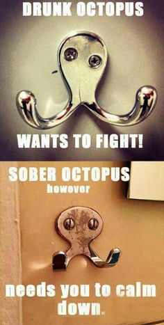 Drunk octopus wants to fight, sober octopus wants you to calm down.