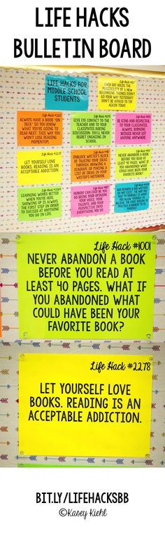 Life Hacks bulletin board for middle school students.