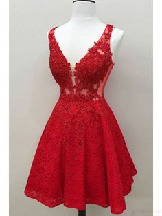 Outlet Fetching Red Lace Homecoming Dresses Red See Through Lace Custom Cheap Homecoming Dresses Cheap Homecoming Dresses, Hoco Dresses, Formal Dresses, Graduation Dresses, Short Red Prom Dresses, Short Red Formal Dress, Dance Dresses, Elegant Dresses, Summer Dresses