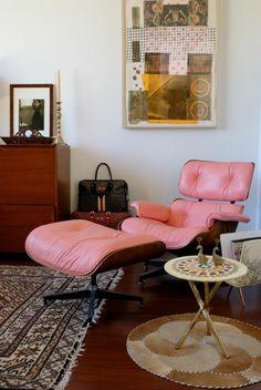 designer sessel Eames Lounge Chair rosa