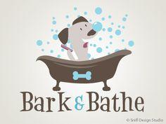 Pet business logo design for Bark & Bathe, an upscale dog grooming salon.