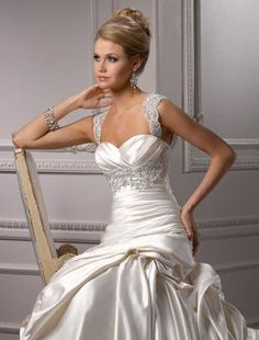 Sweetheart A-Line Wedding Dress  with Dropped Waist in Satin. Bridal Gown Style Number:32396848