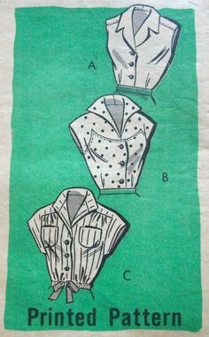 1950s Fitted Sleeveless Blouse Pattern Marian by VivianVanOwen, $24.96
